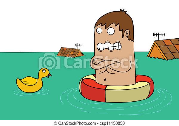 solamente, inundación, -, pato - csp11150850