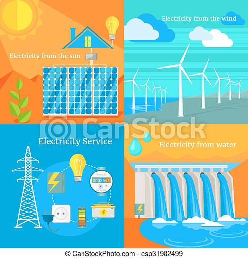 Solar and Hydro Electricity Windy - csp31982499