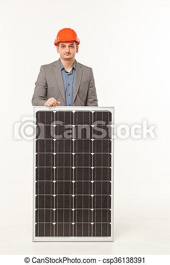 solar battery builder man  - csp36138391