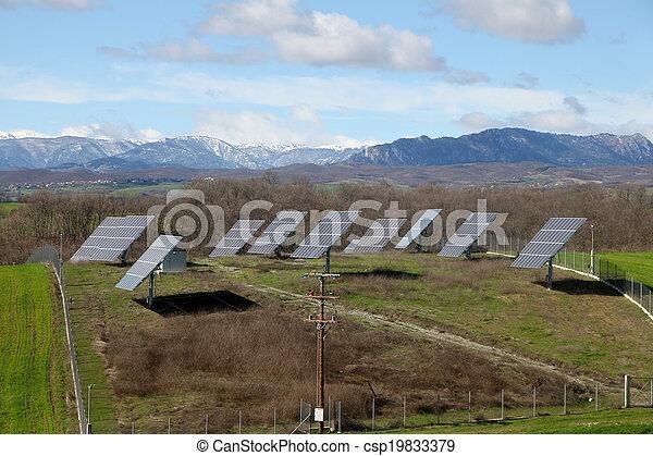Solar battery panel in the rural landscape, Grevena, Greece - csp19833379