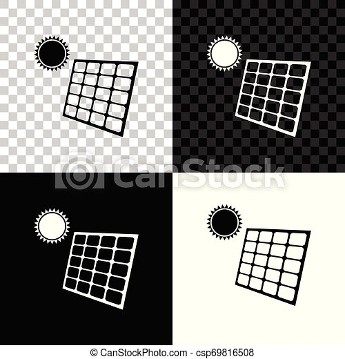 solar energy panel and sun icon isolated on black white and transparent background vector illustration can stock photo