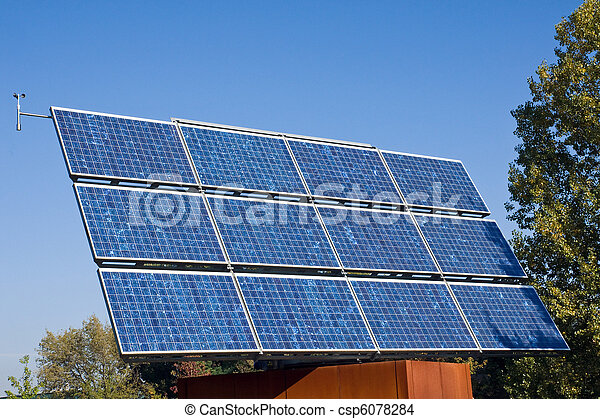 Solar energy panel and trees - csp6078284