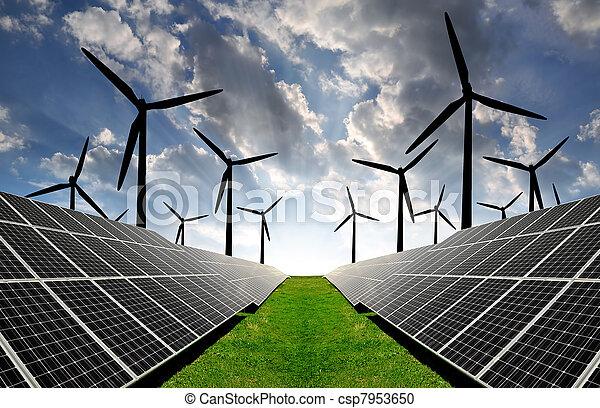 solar energy panels and wind turbin - csp7953650