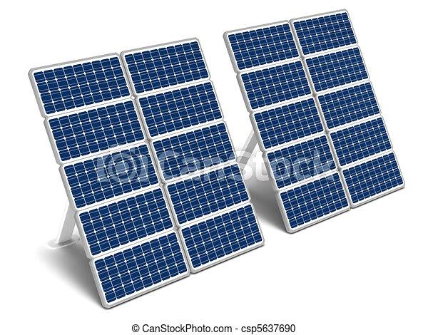 Solar Energy Panels Two Solar Energy Panels On A White