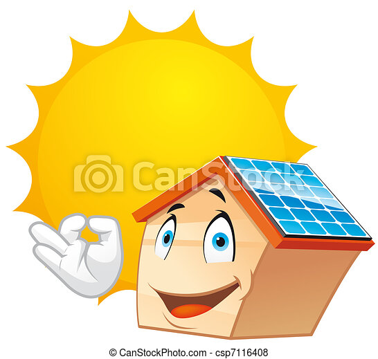 solar energy isolated illustration house mascot with solar stock rh canstockphoto com solar energy clipart black and white solar energy free clipart