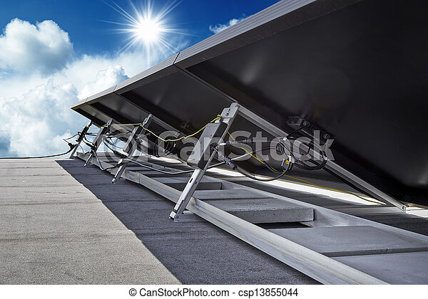 solar, isolado, -, lado, costas, painéis - csp13855044