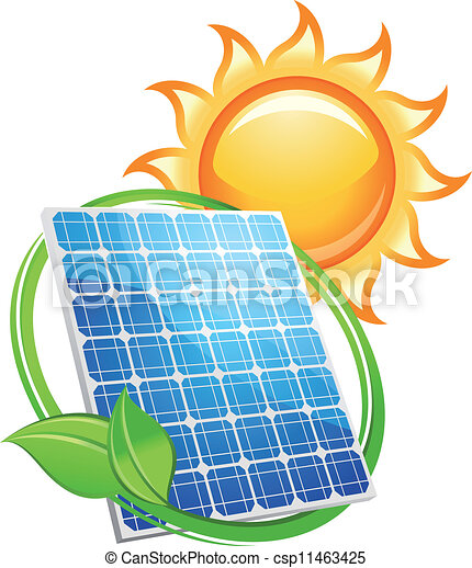 Solar panel and batteries with sun symbol - csp11463425