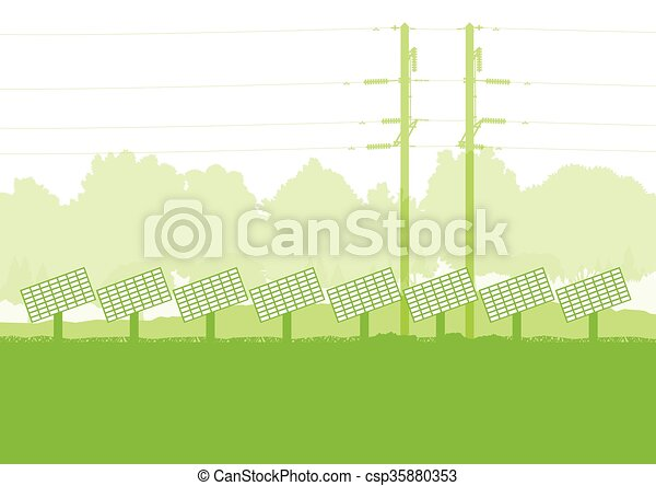 Solar panel and high voltage towers vector background ecology green - csp35880353