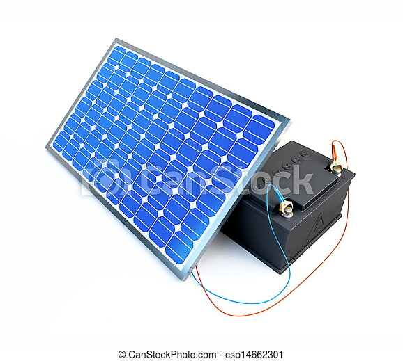 solar panel charges the battery on a white background  - csp14662301