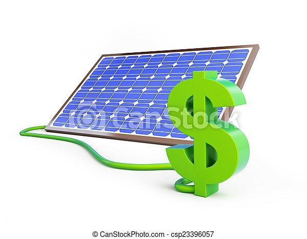 solar panel dollar sign - csp23396057