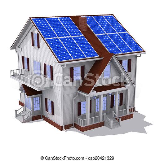 Solar Panel House Render Of Solar Panel On Roof House