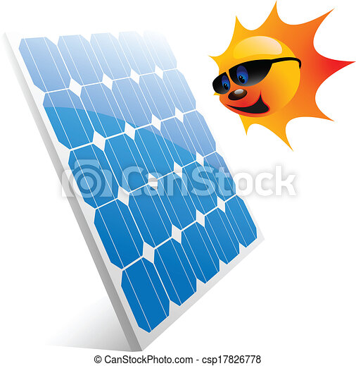 illustration of the sun and solar panels vector vectors rh canstockphoto com solar energy free clipart solar energy free clipart