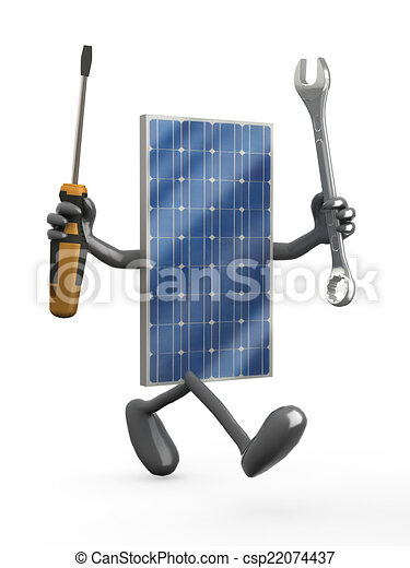 solar panel with arms, legs and tools on hands - csp22074437