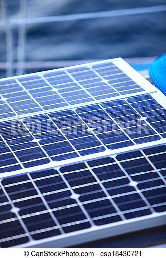 solar panels in sailboat. Renewable eco energy - csp18430721