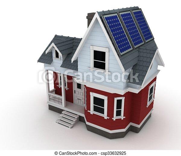 Solar panels on a house - csp33632925