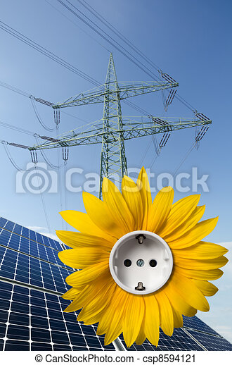 Solar panels, sunflower with socket and utility pole - csp8594121