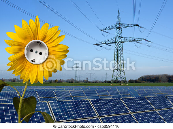 Solar park, sunflower with socket and power line - csp8594116