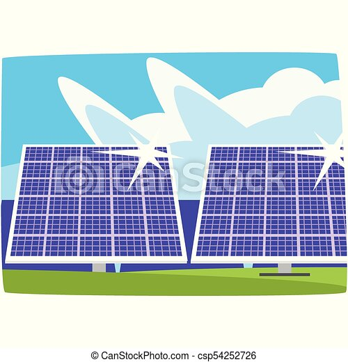Solar power plant, ecological energy producing station, renewable resources horizontal vector illustration - csp54252726