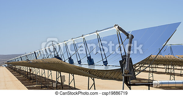 Solar Power Plant Mirrors Solar Electric Power Plant Parabolic Mirrors Concentrating Sunlight
