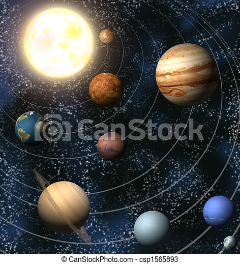 Solar system. An illustration of our solar system. maps ...