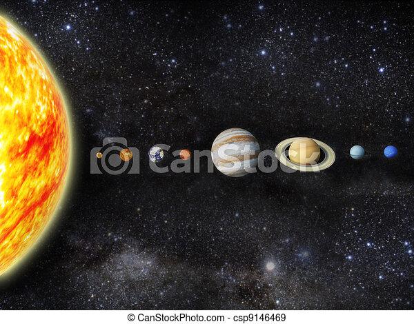 Solar system. Illustration of our solar system. - 3d render maps ...