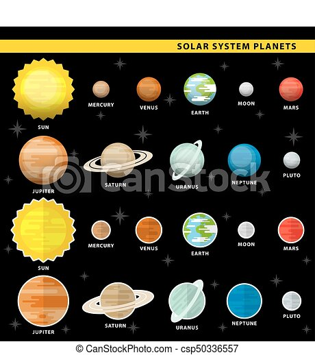 Set Of Solar System Planets In Two Color Styles Clipart Vector