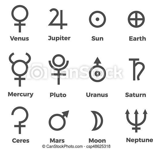 Solar System Planets Icons Set Symbols Pictogram Outline