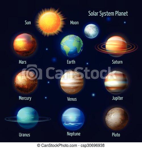 Solar system planets pictograms set - csp30696938