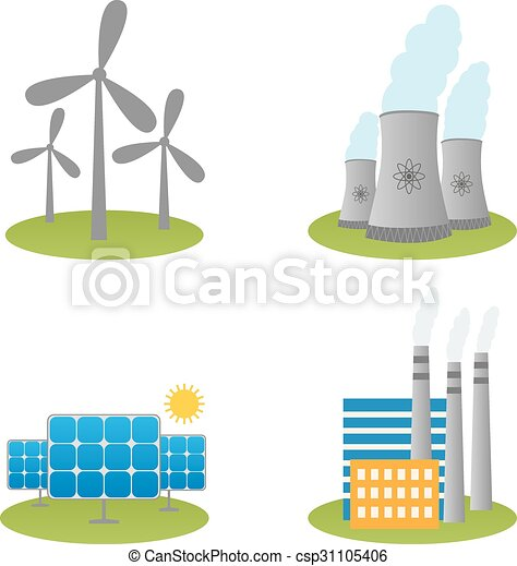 Solar, windmills and nuclear power plants icons - csp31105406