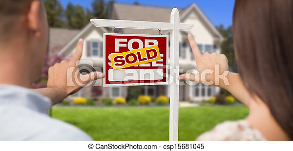 Sold For Sale Sign, House and Military Couple Framing Hands - csp15681045