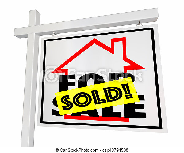 Sold Home for Sale House Real Estate Sign 3d Illustration - csp43794508