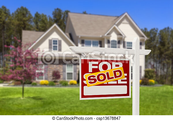 Sold Home For Sale Real Estate Sign and House - csp13678847