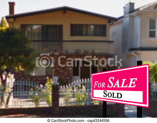 Sold Home For Sale Real Estate Sign - csp43344556