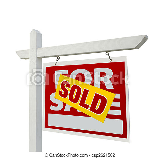 Sold Home For Sale Real Estate Sign - csp2621502