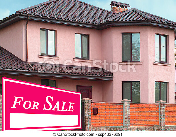 Sold Home For Sale Real Estate Sign - csp43376291