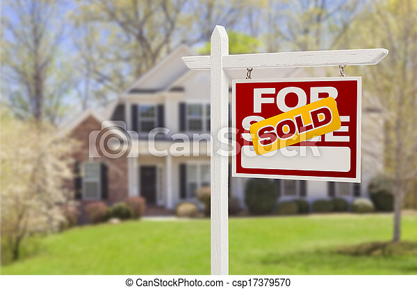 Sold Home For Sale Sign in Front of New House - csp17379570