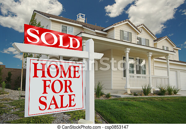 Sold Home For Sale Sign - csp0853147