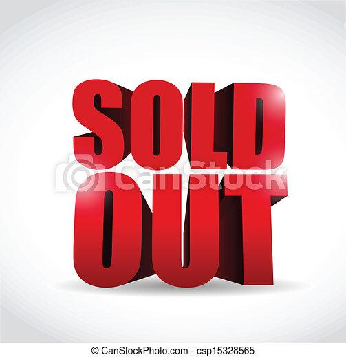 sold out 3d text sign illustration design - csp15328565