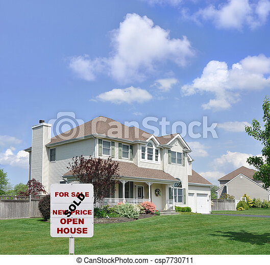 Sold Realty Sign Suburban Home - csp7730711