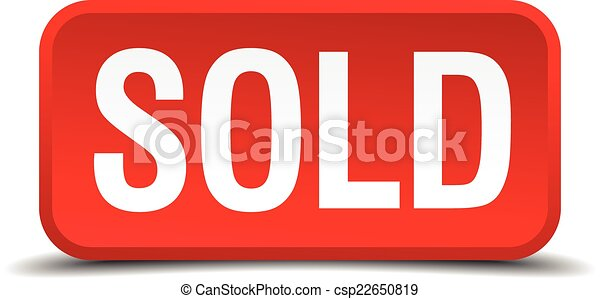 Sold red 3d square button isolated on white - csp22650819