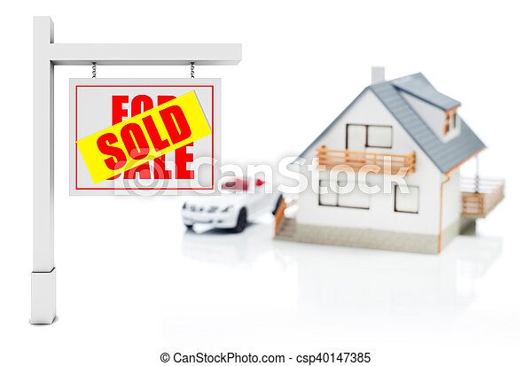 Sold sign in front of house - csp40147385