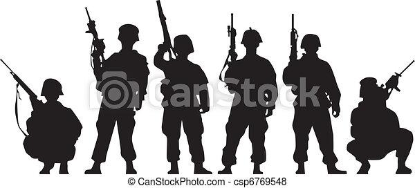 soldaat, silhouette - csp6769548