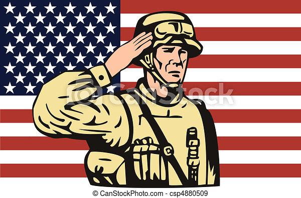 soldado, bandeira americana, costas, saudando - csp4880509