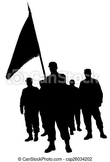 Soldado golpea bandera - csp26034202