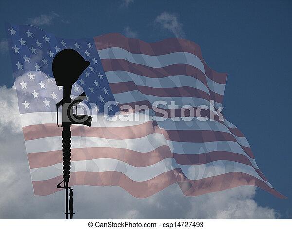 soldado, caído, eua - csp14727493