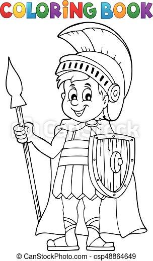 Soldado, romano, libro colorear. Colorido, eps10, illustration ...