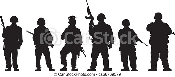 soldado silueta soldados vetorial silueta armas