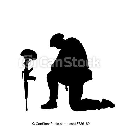 soldat, baissé - csp15736189