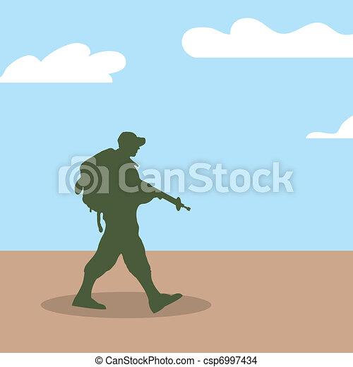soldat, gehen, silhouette, armee - csp6997434