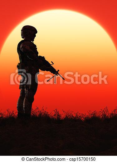 soldat, sonnenuntergang - csp15700150